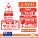 120X Fragile Sticker 90*50mm Handle Care Warning Label Stickers 5 Styles