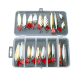 21 Pcs Fishing Lures Set Metal Sequins Spoon Bait Artificial Hard Bait with Fishing Hook Plastic Box Packing
