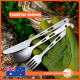 Titanium 3 Piece Knife Fork Spoon Camping Cutlery Set with pouch and hook